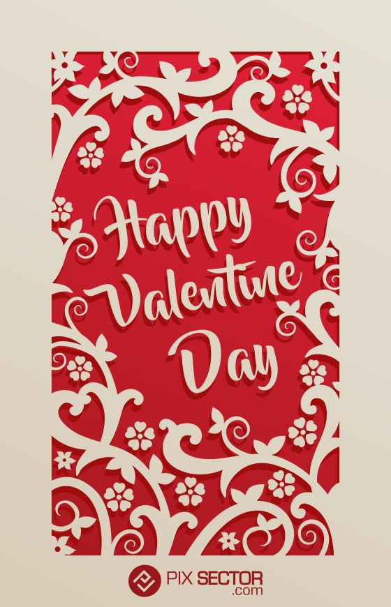 Free happy valentine card with floral ornaments - Pixsector