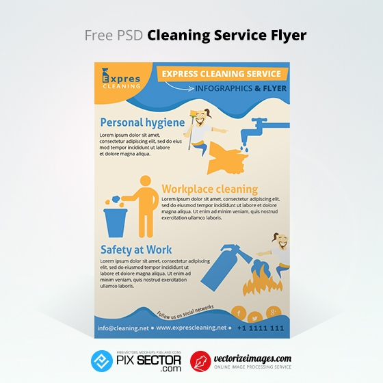 free cleaning service flyer infographics pixsector. Black Bedroom Furniture Sets. Home Design Ideas